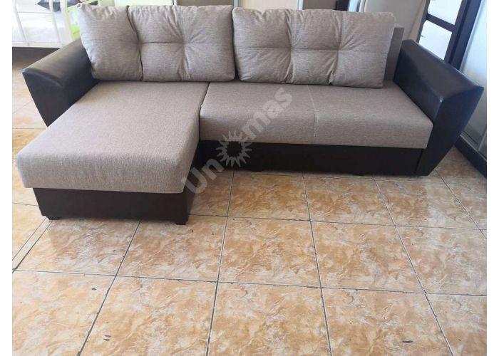 Диван-кровать угловой София (левый угол, кожзам коричневый / рогожка коричневая), Распродажа, Стоимость 22650 рублей.
