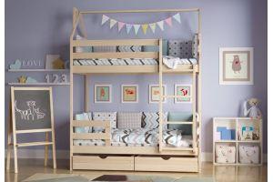 Кроватка-домик Двухъярусная без покраски