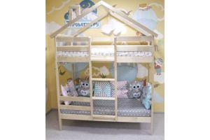 Кроватка-домик Двухъярусная Особая без покраски