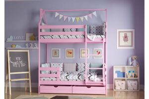 Кроватка-домик Двухъярусная цветная