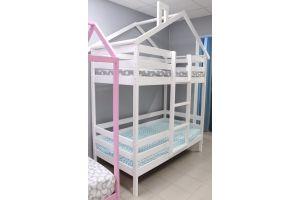 Кроватка-домик Двухъярусная Особая белая