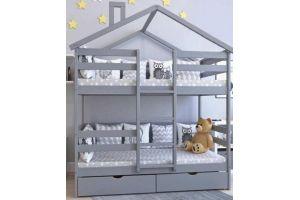 Кроватка-домик Двухъярусная Особая цветная