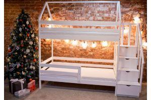 Кроватка Двухъярусная с лесенкой комодом белая