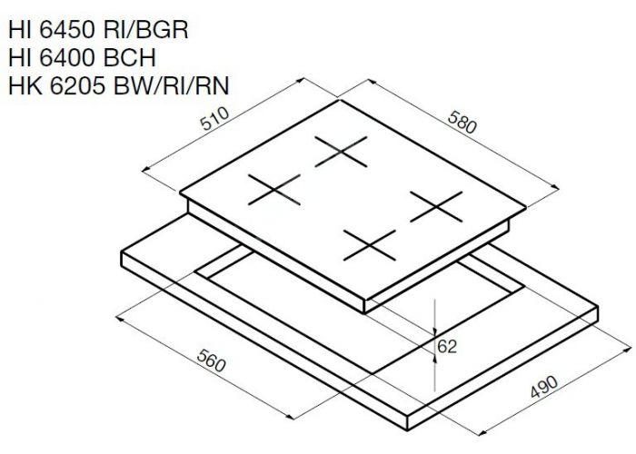 Korting электрическая варочная HK 6205 RN, Кухни, Встроенная техника, Варочные поверхности, Стоимость 27490 рублей., фото 2
