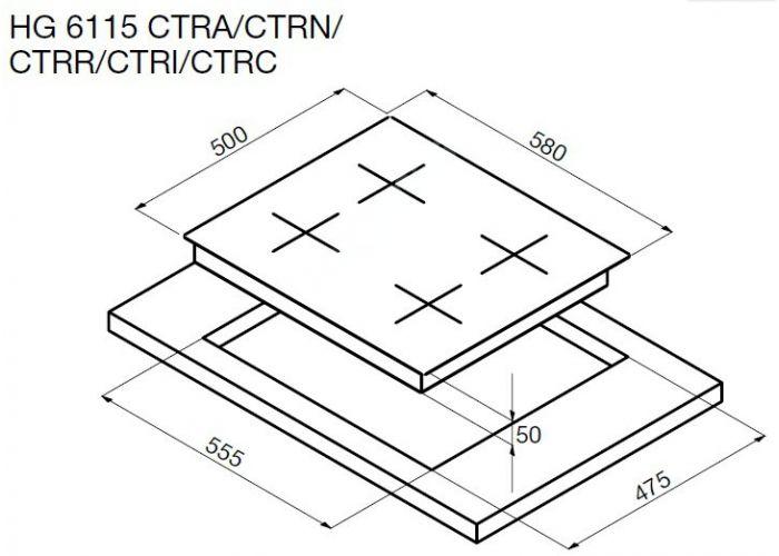 Korting газовая варочная HG 6115 CTRC, Кухни, Встроенная техника, Варочные поверхности, Стоимость 39990 рублей., фото 2