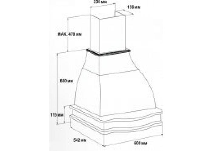 Vialona Cappe вытяжка Лагуна 600 (ППУ) мощ 900 дуб/белый муар