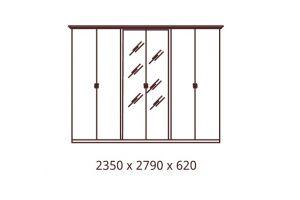 Анита, Шкаф 6-и дверный с зеркалами