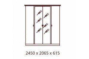 Катя, Шкаф 4х дверный с зеркалами