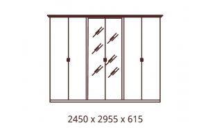 Катя, Шкаф 6-ти дверный с зеркалами