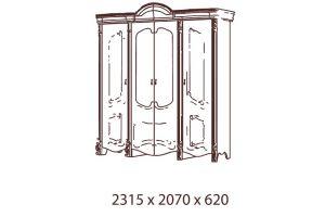 Рафаэлла, Шкаф 4-х дверный с зеркалами