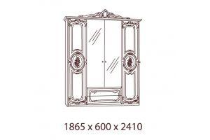 Роза, Шкаф 4-х дверный с зеркалами