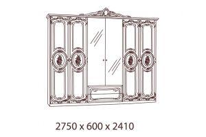 Роза, Шкаф 6-и дверный с зеркалами