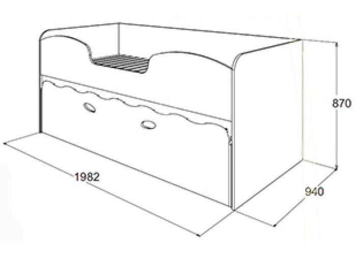 Омега 11 МДФ  кровать 2-х ярусная с выкатным спальным местом