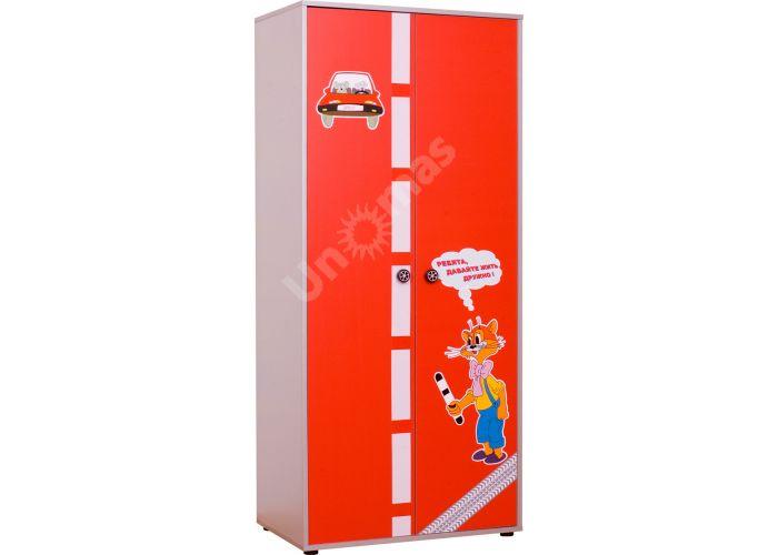 Лео Красный, L-002 Шкаф 2d, Детская мебель, Модульные детские комнаты, Лео Красный, Стоимость 11109 рублей.
