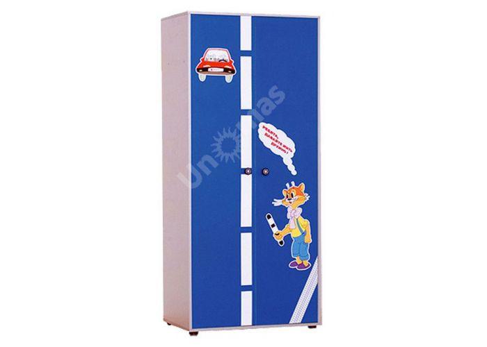 Лео Синий, L-004 Шкаф 3d+L-003 Надставка шкафа 3d, Детская мебель, Модульные детские комнаты, Лео Синий, Стоимость 14325 рублей.