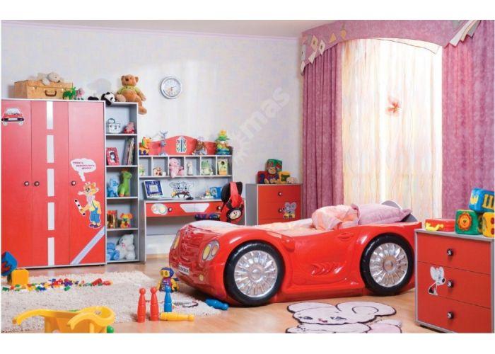 Лео Красный, L-004 Шкаф 3d+L-003 Надставка шкафа 3d, Детская мебель, Модульные детские комнаты, Лео Красный, Стоимость 14325 рублей., фото 2