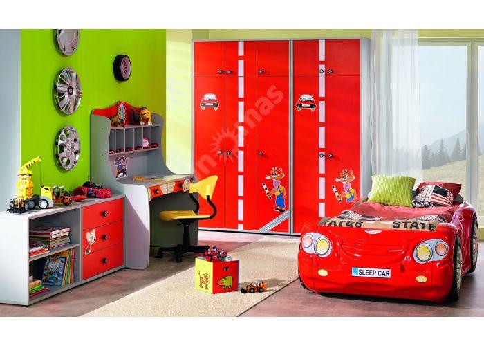Лео Красный, L-004 Шкаф 3d+L-003 Надставка шкафа 3d, Детская мебель, Модульные детские комнаты, Лео Красный, Стоимость 14325 рублей., фото 3