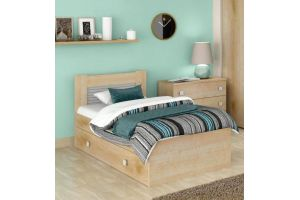 Саша модерн, Кровать 900 с настилом ИД 01.262 + Ящик к кровати ИД 01.262а
