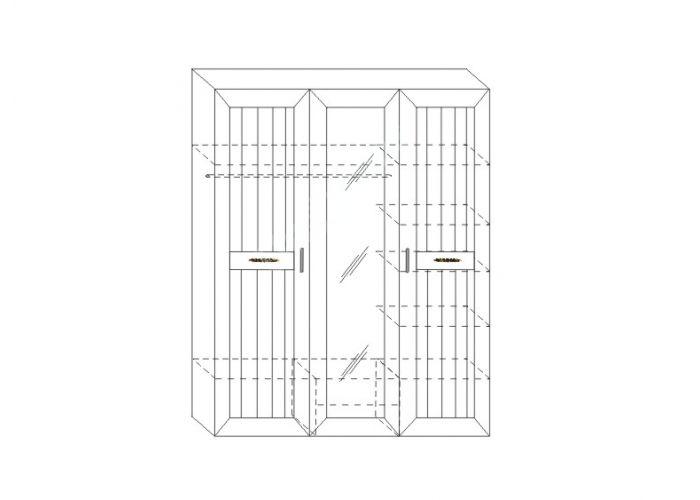 Соната, Шкаф для платья и белья 3-х дверный ИД 01.57, Спальни, Шкафы, Стоимость 23565 рублей., фото 5
