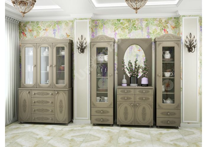 Ассоль plus Грей, АС-29 шкаф-витрина, Гостиные, Витрины и буфеты, Стоимость 14666 рублей., фото 2