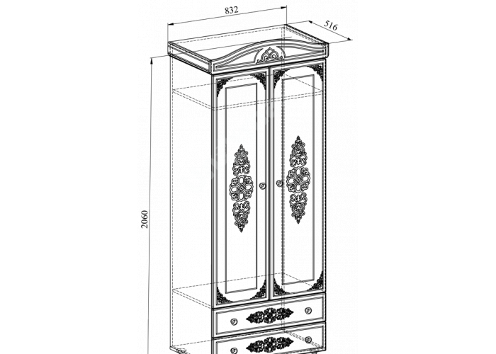 Ассоль plus Ваниль, АС-2 шкаф для одежды, Спальни, Шкафы, Стоимость 21226 рублей., фото 3