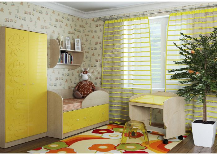 Маугли 3D, МДМ-1 Кровать Клен / Желтый глянец, Детская мебель, Детские кровати, Стоимость 8839 рублей., фото 2