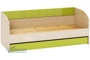 Маугли 3D, МДМ-12 Кровать (диванчик) Клен / Лайм глянец