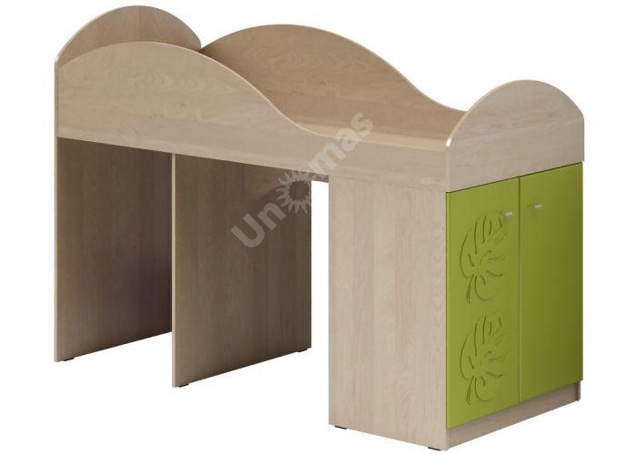 Маугли 3D, МДМ-2 Кровать-чердак Клен / Лайм глянец, Детская мебель, Двухъярусные кровати, Стоимость 11294 рублей.