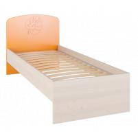 Маугли 3D, МДМ-11 Кровать без ламелей Клен / Оранж глянец