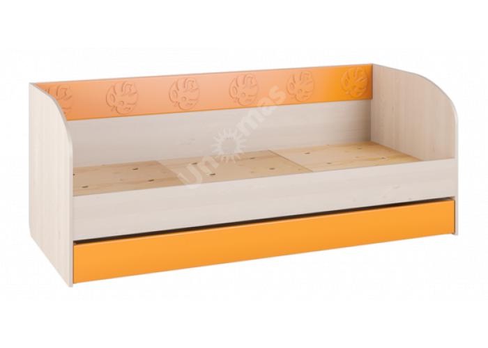 Маугли 3D, МДМ-12 Кровать (диванчик) Клен / Оранж глянец, Детская мебель, Детские кровати, Стоимость 8312 рублей.