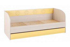 Маугли 3D, МДМ-12 Кровать (диванчик) Клен / Желтый глянец