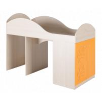 Маугли 3D, МДМ-2 Кровать-чердак Клен / Оранж глянец
