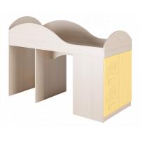 Маугли 3D, МДМ-2 Кровать-чердак Клен / Желтый глянец