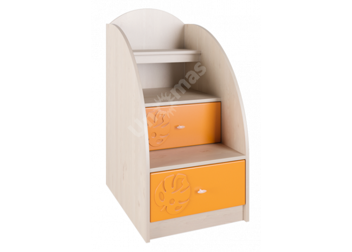 Маугли 3D, МДМ-3 Лестница-тумба Клен / Оранж глянец, Детская мебель, Модульные детские комнаты, Маугли 3D Клен / Оранж глянец, Стоимость 6303 рублей.