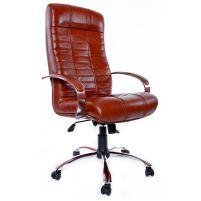 Кресло руководителя Атлант /К/ Хром /кожа 6030U70R коричневый