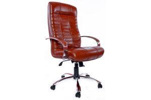 Кресло руководителя Атлант /К/ Хром /кожа 6030U70R коричневый 26599
