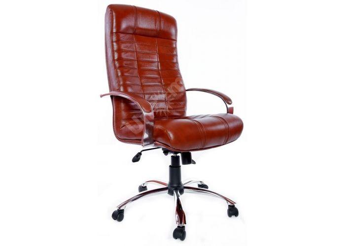 Кресло руководителя Атлант /К/ Хром /кожа 6030U70R коричневый, Офисная мебель, Кресла руководителя, Стоимость 24440 рублей.