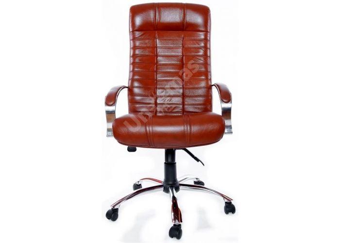 Кресло руководителя Атлант /К/ Хром /кожа 6030U70R коричневый, Офисная мебель, Кресла руководителя, Стоимость 24440 рублей., фото 6