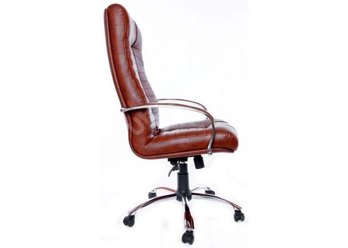 Кресло руководителя Атлант /К/ Хром /кожа 6030U70R коричневый, Офисная мебель, Кресла руководителя, Стоимость 24440 рублей., фото 5