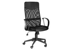 Кресло руководителя Оксфорд Б Люкс /Tw-11+Кожзам Чёрный 46547