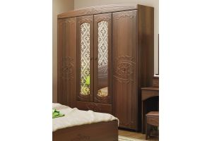 Каролина, Шкаф 4-х дверный комбинированный с зеркалами Дуб кальяри / Дуб шеппи