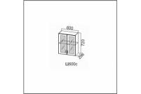 Лаура, Ш600c/720 Шкаф навесной 600/720 со стеклом