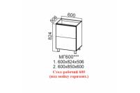 Лофт, МГ600 Стол-рабочий 600 (под мойку горизонтальный)