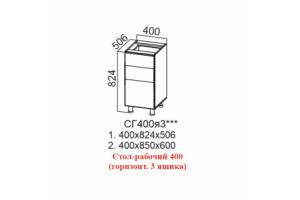 Лофт, СГ400я3 Стол-рабочий 400 (горизонтальный 3 ящика)