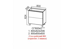 Лофт, СГ800я2 Стол-рабочий 800 (горизонтальный 2 ящика)