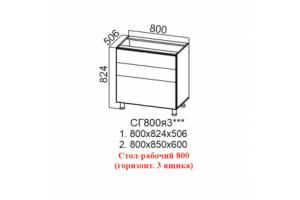 Лофт, СГ800я3 Стол-рабочий 800 (горизонтальный 3 ящика)