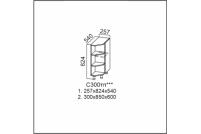 Вектор, С300тп(540) Стол-рабочий 300 (торцевой с полками) 540