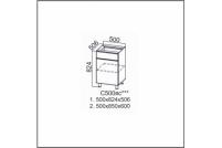 Вектор, С500яс Стол-рабочий 500 (с ящиком и створками)