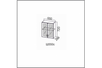 Вектор, Ш550c/720 Шкаф навесной 550/720 (со стеклом)