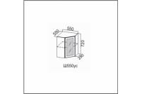 Вектор, Ш550уc/720 Шкаф навесной 550/720 (угловой со стеклом)